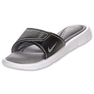 Nike Shoes - Nike Teal & Silver Velcro Comfort Footbed Slides